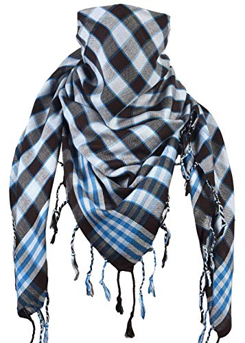 Activave Military Scarf 100% Cotton Shemagh Men's Scarves Tactical Desert Scarf Bandana for Men & Women, Keffiyeh Head Neck Wrap (White and Brown)