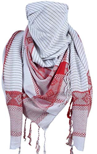 Activave Military Scarf 100% Cotton Shemagh Men's Scarves Tactical Desert Scarf Bandana for Men & Women, Keffiyeh Head Neck Wrap (White and Red)