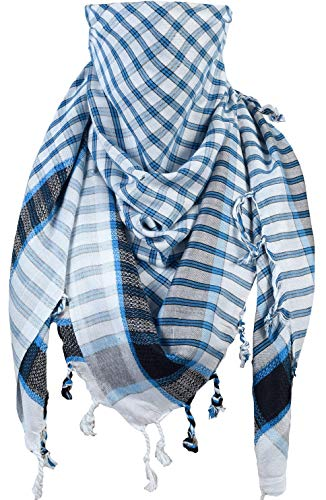 Activave Military Scarf 100% Cotton Shemagh Men's Scarves Tactical Desert Scarf Bandana for Men & Women, Keffiyeh Head Neck Wrap (White and Blue 1)