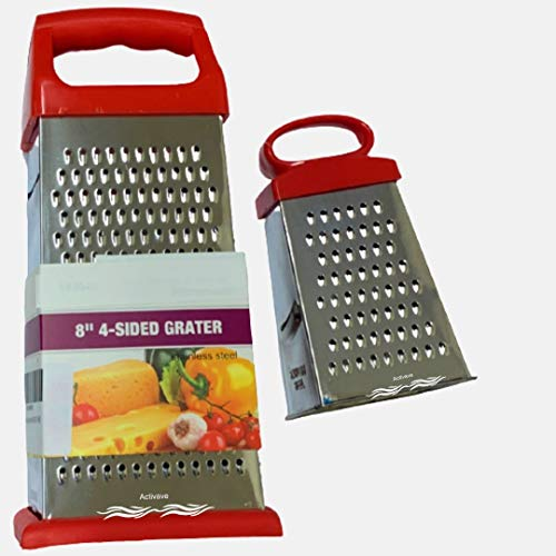 Activave 4-Sided Cheese Grater, Vegetable Grater, Slicer Hand held Grater/Slicer/Zester Kitchen Tool (8