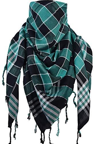 Activave Military Scarf 100% Cotton Shemagh Men's Scarves Tactical Desert Scarf Bandana for Men & Women, Keffiyeh Head Neck Wrap (Green and Black)