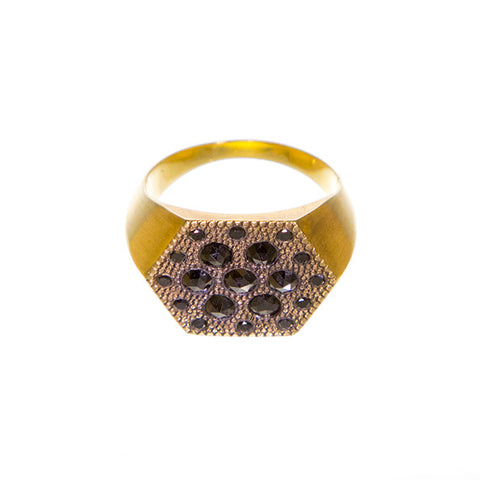 Black Diamond Hexagon Ring