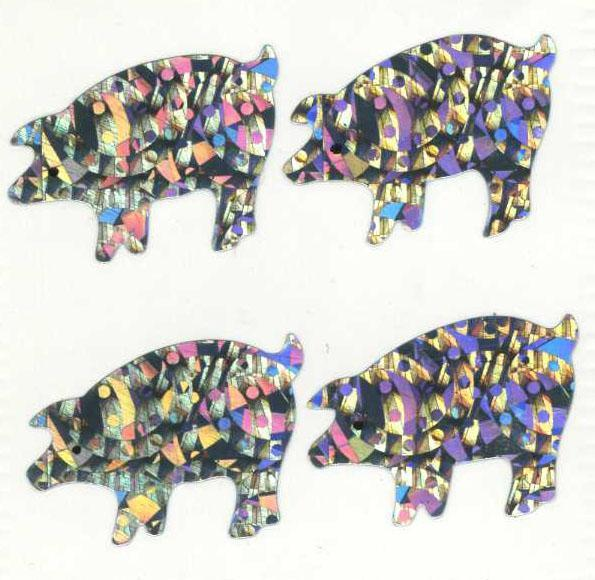 Pack of Sparkly Prismatic Stickers - 4 Pigs
