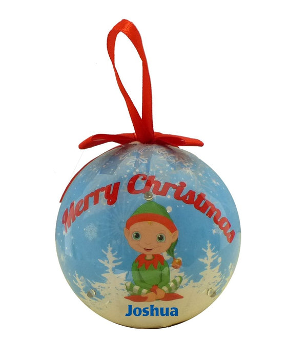 Flashing Christmas Bauble - Boys Designs