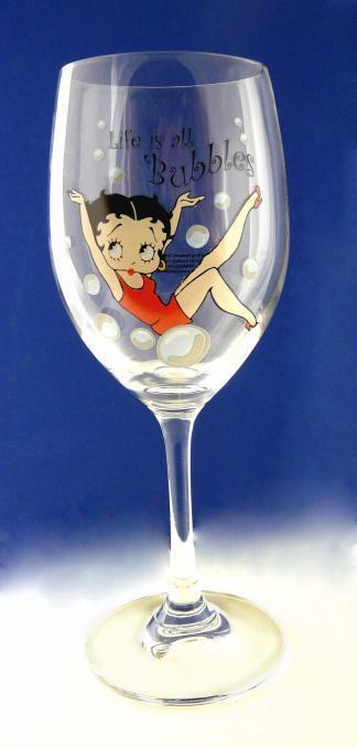 BP2114 Betty Boop Wine Glass - Life's All Bubbles