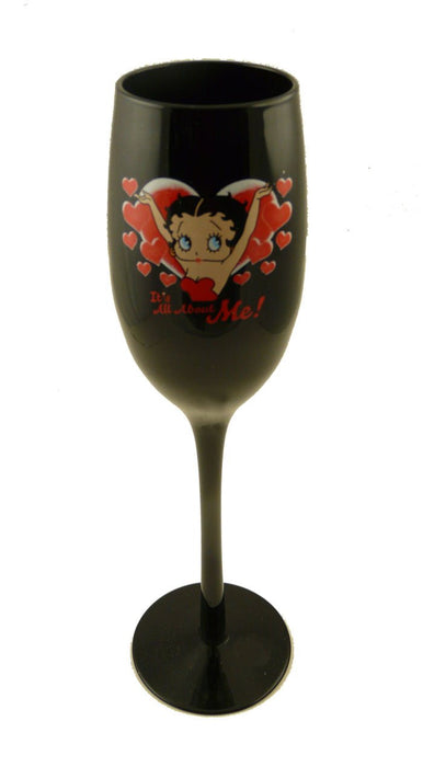 BP2149 Betty Boop Black Flute Wine Glass - All About Me