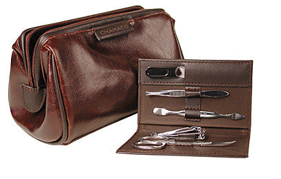 Chamaco Mens Leather Travel Bag with Grooming Kit