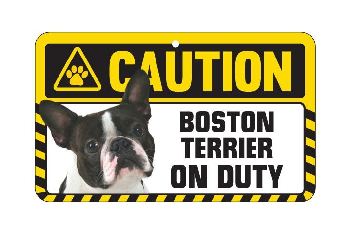 Boston Terrier Caution  Sign