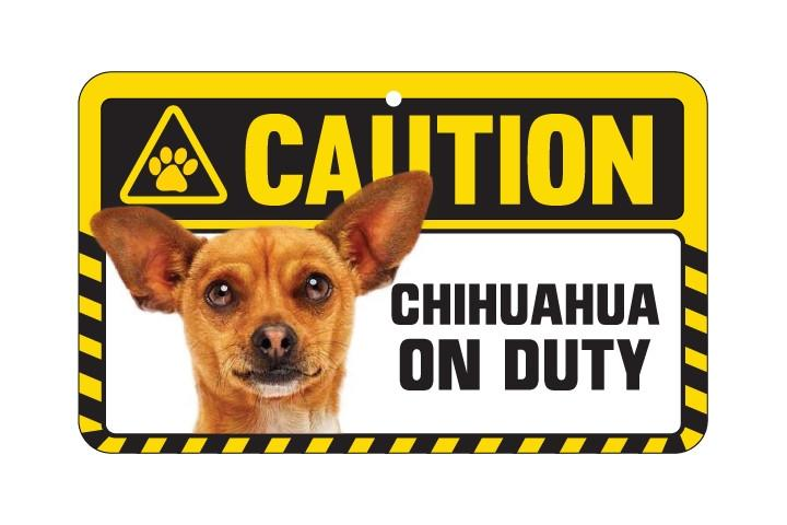 Chihuahua Tan Caution Sign