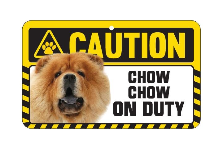 Chow Chow Tan Caution Sign
