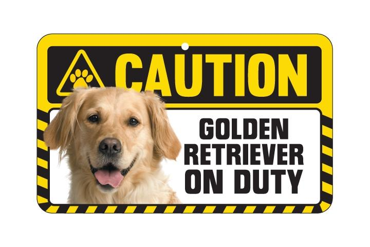 Golden Retriever Caution Sign