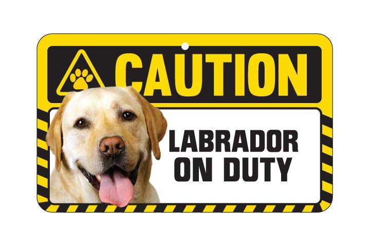 Labrador Yellow Caution Sign