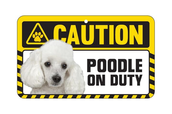 Poodle (White) Caution Sign