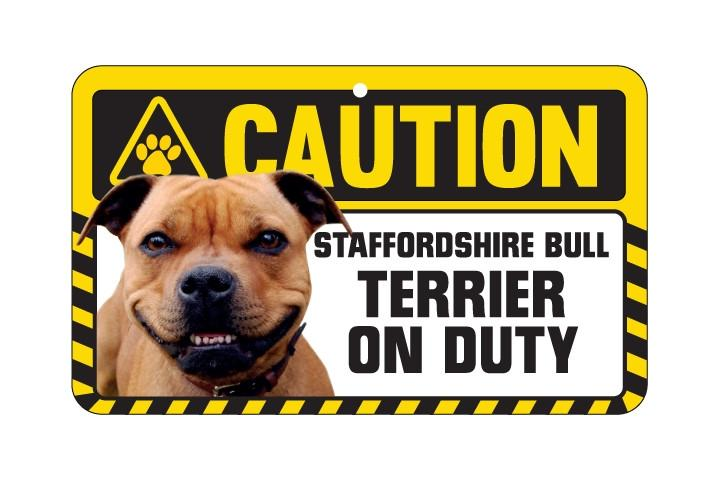 Staffordshire Bull Terrier Brown Caution