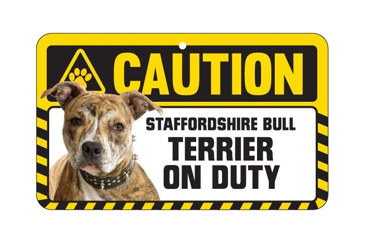 Staffordshire Bull Terrier Caution Sign
