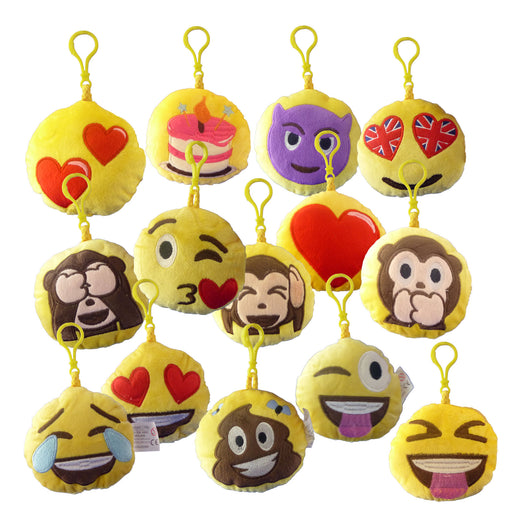 Pack of Emotives Plush Bag Tags/Key Hangers - 8 for £10, 14 for £15 - FREE UK POSTAGE