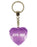 100% Angel Diamond Heart Keyring - Purple