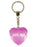 100% Angel Diamond Heart Keyring - Pink
