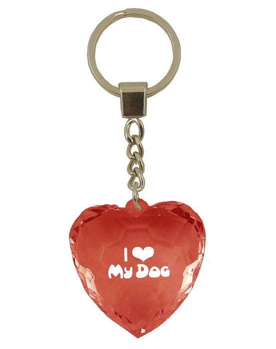 I Love My Dog Diamond Heart Keyring - Red