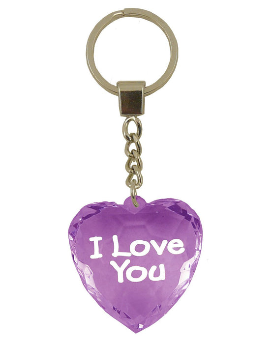 I Love You Diamond Heart Keyring - Purple