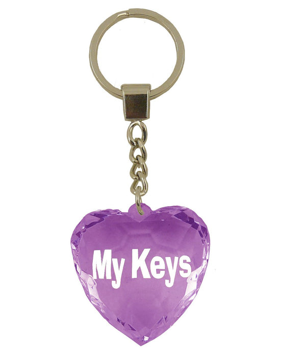 My Keys Diamond Heart Keyring - Purple
