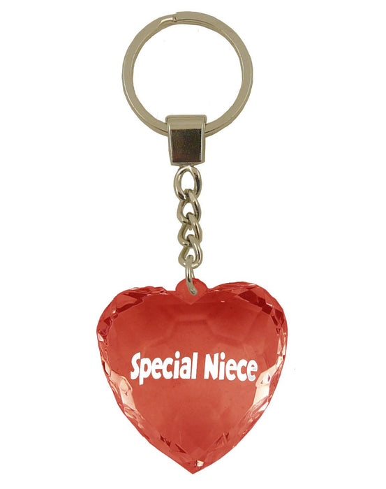 Special Niece Diamond Heart Keyring - Red