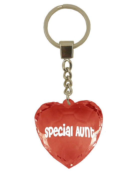Special Aunt Diamond Heart Keyring - Red