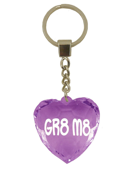 Gr8 M8 Diamond Heart Keyring - Purple