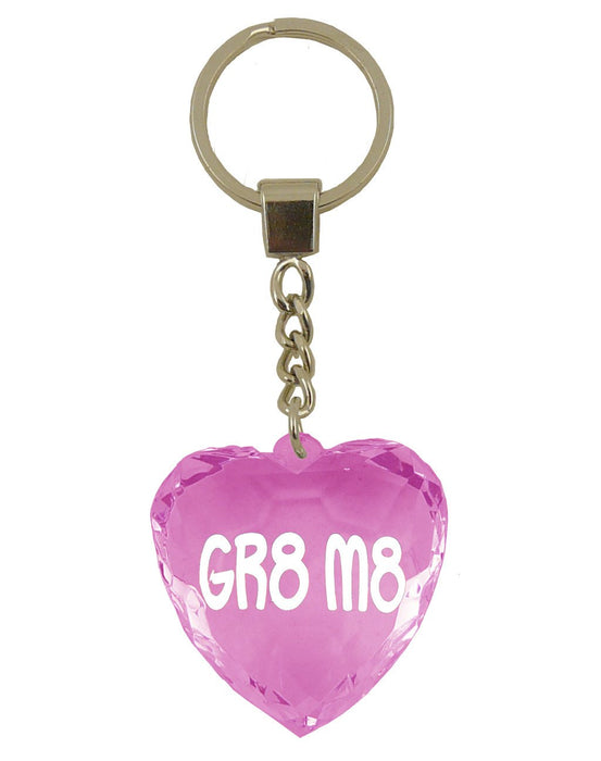 Gr8 M8 Diamond Heart Keyring - Pink
