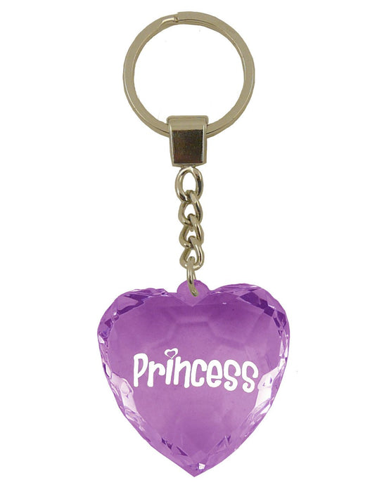 Princess Diamond Heart Keyring - Purple