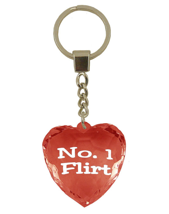 No 1 Flirt Diamond Heart Keyring - Red