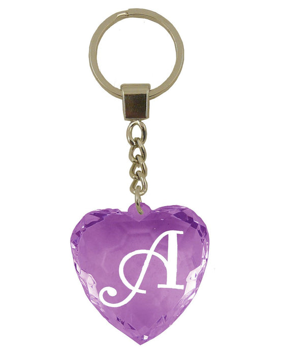 Initial Letter A Diamond Heart Keyring - Purple
