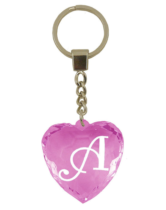 Initial Letter A Diamond Heart Keyring - Pink