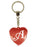 Initial Letter A Diamond Heart Keyring - Red