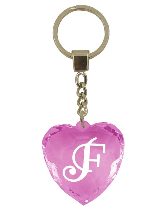 Initial Letter F Diamond Heart Keyring - Pink
