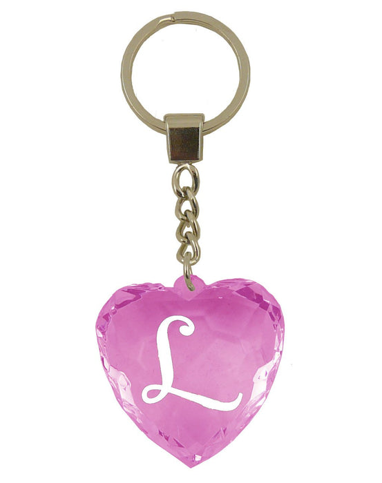 Initial Letter L Diamond Heart Keyring - Pink