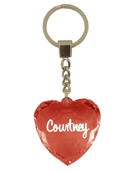 Courtney Diamond Heart Keyring - Red