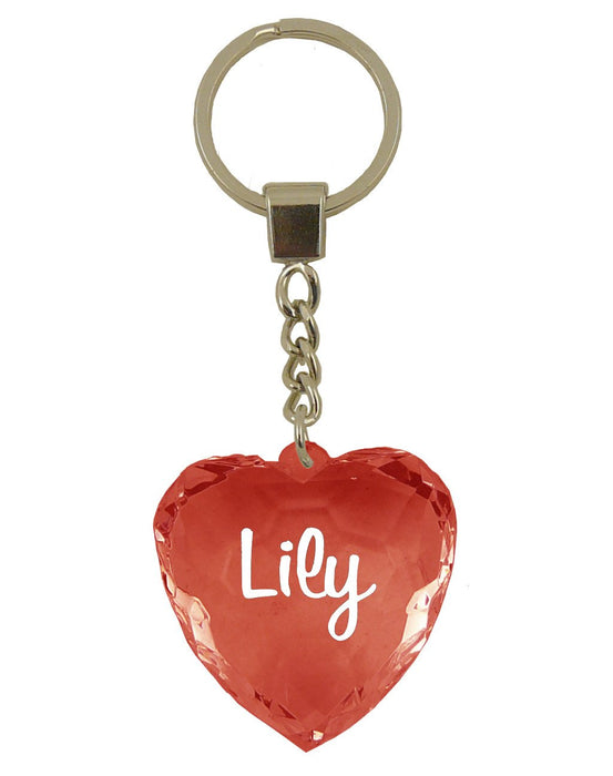 Lily Diamond Heart Keyring - Red