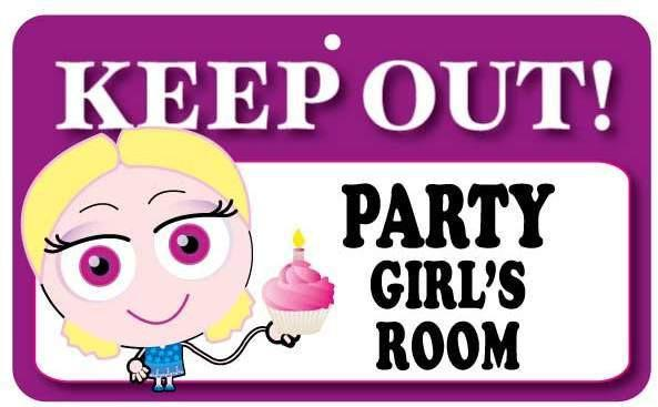 KO005 Keep Out Door Sign - Party Girl's Room