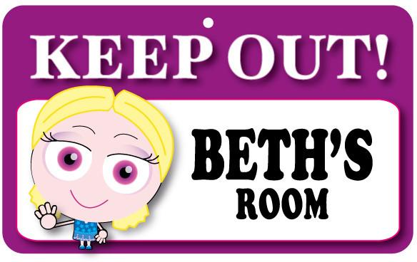 KO036 Keep Out Door Sign - Beth's Room
