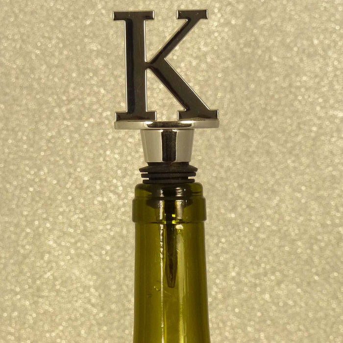 Chrome Bottle Stopper - Initial Letter