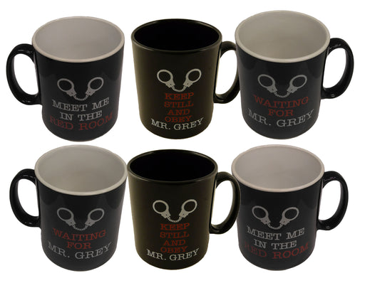 Set of 6 Mr Grey Black Mugs