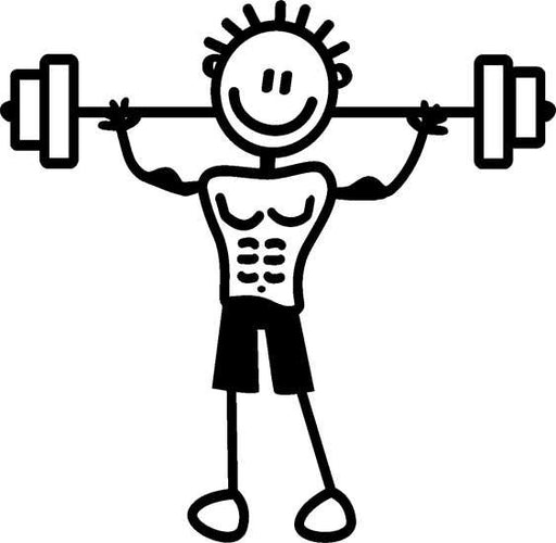 My Family Sticker - Dad Lifting Weights