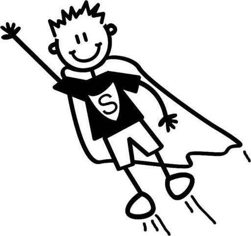 My Family Sticker - Younger Boy Being Superhero