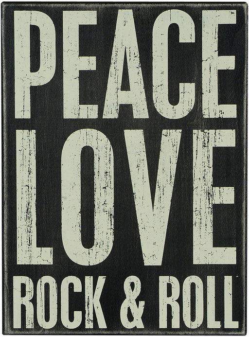 Primitives Box Sign -  Peace Love Rock & Roll