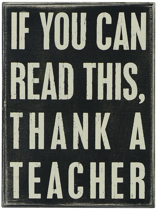 PK063 Primitives Box Sign -  Thank A Teacher