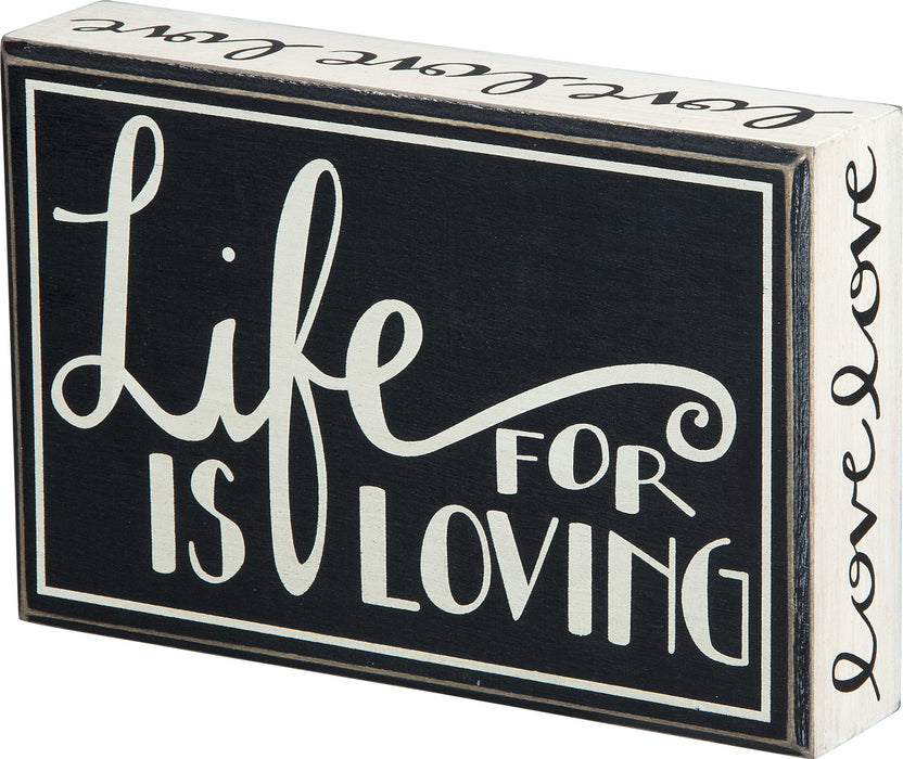 PK3293 Primitives Hanging Box Sign - Life Is For Loving