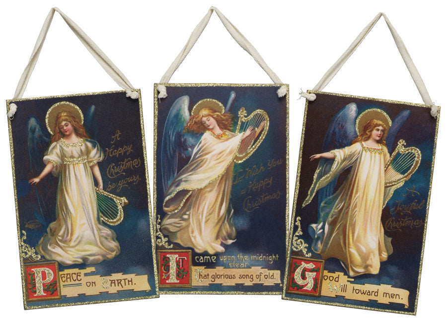 Vintage Angel Hanging Sign Peace 9.5''X6