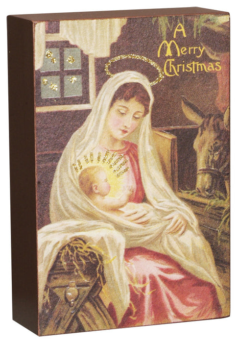 Vintage Box Sign - Nativity  4'' X 6''