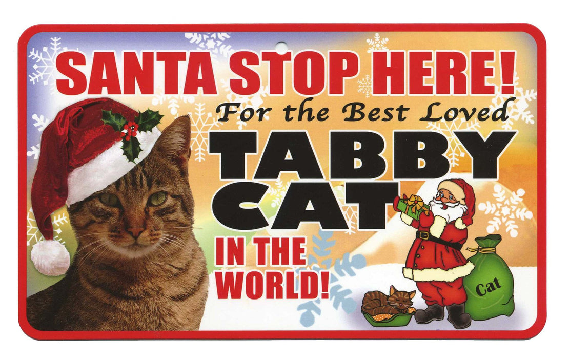 PSS080 Santa Stop Here Sign - Black Cat